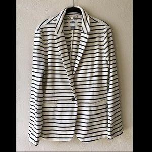 Striped Blazer (Navy Blue/Cream)